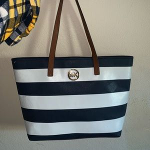 Michael Kors Navy & White striped east west tote